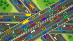 Flat shot of busy interesection of three highways. Stock Footage
