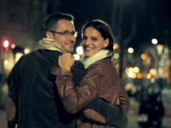 Happy couple in love walking in the city at night NTSC Stock Footage