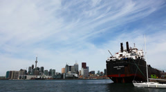 View of the Toronto harbour with freighter, Canada - stock footage