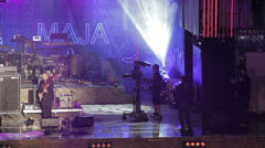 Rock music concert in Rome: 1st may in S. giovanni square, stage, lights, music Stock Footage