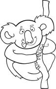 Stock Illustration of cartoon koala for coloring book