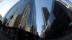 Fisheye tracking shot down town Los Angeles Stock Footage