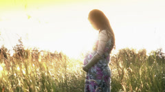 Pregnant woman in a field Stock Footage