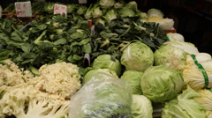 Fresh vegetables at an open market Stock Footage