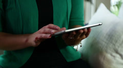 Using touch pad ipad device computer touch screen Stock Footage