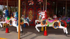 Merry-go-round in a carnival Stock Footage