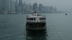 Harbor ferry passes by Stock Footage