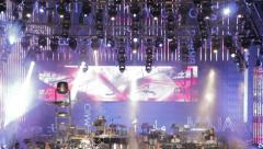 lighting effects on the stage of a rock concert in Rome: S. Giovanni square - stock footage
