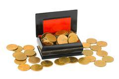 Gold money in box Stock Photos