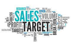 word cloud sales target - stock illustration