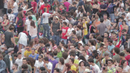 Stock Video Footage of crowd of guys waiting for shot from a rock concert