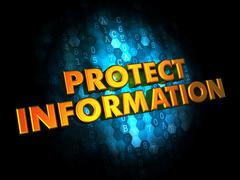 Protect Information - Gold 3D Words. - stock illustration