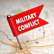 Military Conflict - Small Flag on a Map Background. Stock Illustration