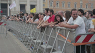 Stock Video Footage of people waiting for orck concert in Rome: 1st may S. Giovanni Square