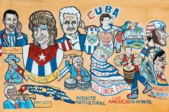 Street painting portraying several famous cuban musicians in lit Stock Illustration