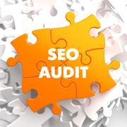 SEO Audit on Orange Puzzle. Stock Illustration