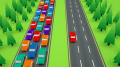 Car heading in the opposite direction of traffic jam. Stock Footage