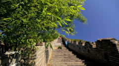 The Great Wall of China disrepair fortifications people Mutianyu - stock footage