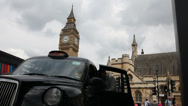 Stock Video Footage of London's black cabs, Uber