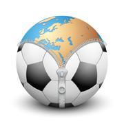 Planet Earth inside soccer ball Stock Illustration