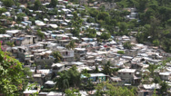 Stock Video Footage of Top shot looking down on shanty town