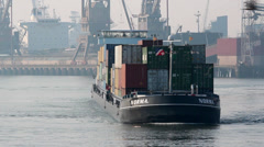 ROTTERDAM PORT CARGO SHIP 6 Stock Footage