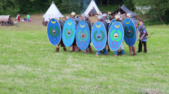 Roman soldiers attack with swords Stock Footage