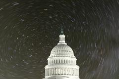united states capitol with north star rotation - stock photo
