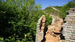 The Great Wall of China Watchtower disrepair people Beijing - stock footage