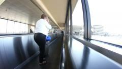 Time lapse of moving sidewalk with lots of people Stock Footage