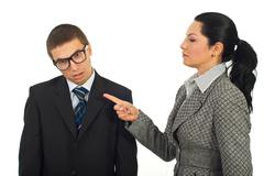 Stock Photo of Manager woman accuse dump employee