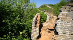 Watchtower disrepair Great Wall of China Mutianyu Beijing Asia - stock footage