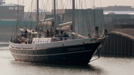 Stock Video Footage of PORT HAGUE SAILING VESSEL SCHOONER MASTS 2