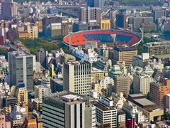 Urban city scape with stadium - stock photo