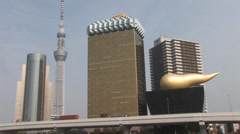 Skyline of Tokyo, Japan, seen from across the Sumida River Stock Footage