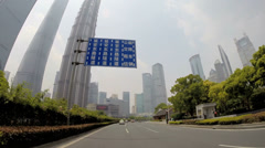 POV Shanghai city driving Pudong Financial District China - stock footage
