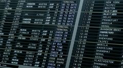 Hong Kong International Airport digital arrival departure board Stock Footage