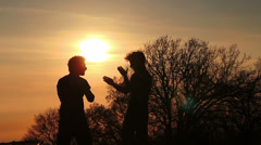 Silhouettes of two fighters on gold sunset background: martial art, fight - stock footage
