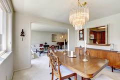 Bright dining room in old house Stock Photos