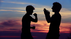Silhouettes of two fighters on sunset fiery background: martial art, training Stock Footage