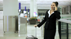 Caucasian Businesswoman Airport Global Travel Smart Phone Communication - stock footage