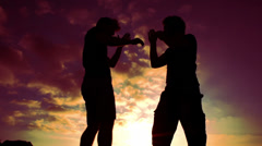 Silhouettes of two fighters in purple sky background while training martial art - stock footage