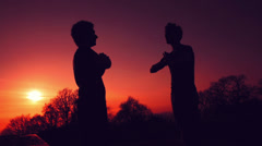Silhouettes of two fighters on sunset red fiery background: martial art, fight - stock footage