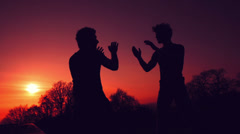 Silhouettes of two fighters on sunset fiery background: martial art, fight Stock Footage