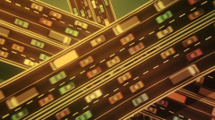 Flat shot of traffic jam at interesection of three highways. Stock Footage