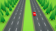 Following a red car down the highway Stock Footage