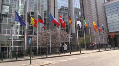 European flags in front of the Europen parlament, Brussels, Belgium Stock Footage
