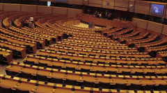 Plenary Room of European Parliament in Bruxelles Stock Footage