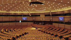 Assembly Room Seat of European Parliament Brussels Stock Footage