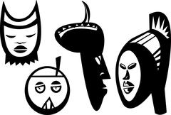 Four Sudanese Masks - stock illustration